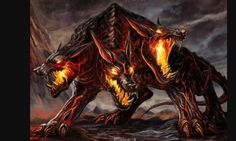 """Cerberus, often called the """"hound of Hades"""", is the monstrous multi-headed dog that guards the gates of the Underworld to prevent the dead from leaving. Dark Creatures, Weird Creatures, Fantasy Creatures, Mythical Creatures, Hades Greek Mythology, Vampires, Animal Espiritual, Demon Dog, Dragons"""