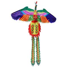 """Colorful 3D Chinese Phoenix Kites - All Silk, Bamboo Sticks, Packed in fabric-covered gift box       (Medium)  Size: 37"""" W x 51"""" H (94cm x 130cm)  *Price: $6.50 ea      (Large)  Size: 45 1/4"""" W x 71"""" H (115cm x 180cm)  *Price: $8.25 ea"""