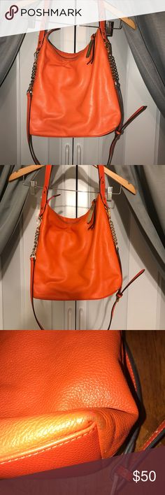 "Emma and Sophia handbag Bright orange handbag with minimal signs of wear pictured 👆🏻. Inside of bag has no stains or marks and is in excellent condition. Bag is genuine leather. Crossbody strap measures 40"" inside strap measures 18"" emma and sophia Bags Crossbody Bags"