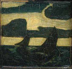 """Moonlight Marine,"" Albert Pinkham Ryder, 1870–90, oil and possibly wax on wood panel, 11 1/2 x 12"", Metropolitan Museum of Art."