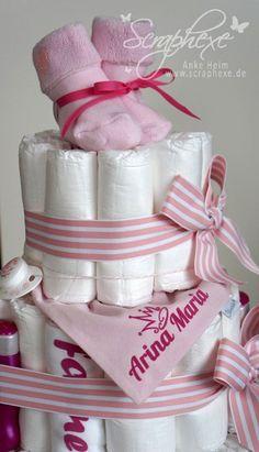 Windeltorte Mädchen❤️Kuschel Ente ❤️mit Name Geschenk für Babys zur Geburt,Taufe