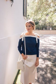 e640be3c77 Gal Meets Glam Styling A Slip Skirt - J.Crew sweater