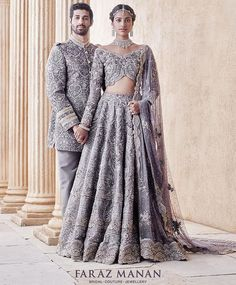 The Stylish And Elegant Lehenga Choli In Grey Colour Looks Stunning And Gorgeous With Trendy And Fashionable Embroidery . The Satin Fabric Party Wear Lehenga Choli Looks Extremely Attractive And Can A. Pakistani Couture, Pakistani Wedding Dresses, Indian Wedding Outfits, Indian Couture, Bridal Outfits, Indian Dresses, Indian Outfits, Pakistani Bridal Lehenga, Bollywood Bridal