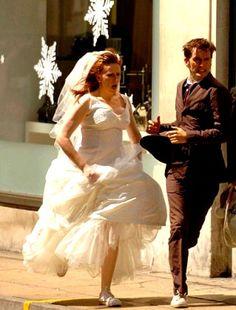 Seriously Theres An Insane Amount Of Running Also Just Noticed Shes Wearing White ConverseConverse ShoesWedding DresssesDonna NobleWoman