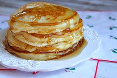 Eggnog Pancakes - special and perfect for the holidays. I found them smoother than regular pancakes, and loved the added spice of the nutmeg!