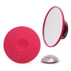 Detachable Make-up Mirror with 10x Magnifying. Suction cup and Magnetic fastener cerise - Bosign #bosign #design #makeupmirror #travelmirror #travelsmart #bathroom #interior #mirror #smallmirror