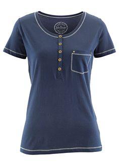 Blusa henley com manga curta azul índigo encomendar agora na loja on-line bonprix.de  R$ 49,90 a partir de Blusa gola henley, um charme para o seu dia a ...