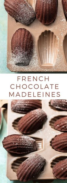How to Make French Chocolate Madeleines: A classic recipe for madeleines, little French chocolate cakes with a thin cookie crust on the outside and a moist, melting crumb on the inside. Food Recipes For Dinner, Food Recipes Homemade French Bakery, French Pastries, French Chocolate, Chocolate Cakes, Best Chocolate Desserts, Baking Chocolate, Chocolate Brown, Madelines Recipe, Chocolate Madeleines Recipe