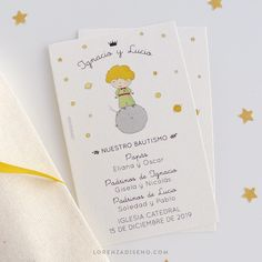 """@lorenzadiseno: """"Estampitas Principito 🌠 . Estampita para Mellizos! Con la temática del principito en papel especial…"""" Fraternal Twins, Paper Envelopes"""