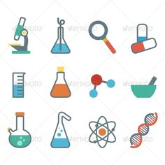 Flat Icon Science by marochkina a set of plane icons with symbols of science and medicine