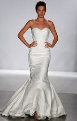 true love: linen and venice lace applique strapless fitted wedding dress. ivory. forever, gone...