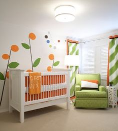 Green and Orange Nursery Bold Colors are nice for nursery as well as the basic pastels. http://www.haveheartdaily.com/baby--toddler.html