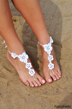 White Pearl Barefoot Sandals Foot jewelry by FancyyFeets on Etsy