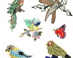Sequin Patches Brooches Embroidered Beaded Patches for Clothes Butterfly Bird Patches for Jackets Bag Applique Fabric Patch , 1 PCS