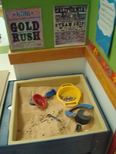 Panning for Gold in our sensory station. (The same Western Theme) I know you mentioned the Gold Rush so this would be a good way to actually let the kids do this. If we wanted to minimize mess, we could use rice instead of sand Preschool Education, Preschool Themes, Preschool Activities, Preschool Curriculum, Homeschool, Preschool Classroom, Classroom Themes, Classroom Activities, Cowboy Theme