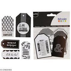 Die cut Artemio - Etiquettes Black & White - 15 pcs - Photo n°2