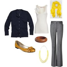 Casual office outfit - work attire - gray + navy + white + yellow scarf + mustardish flats - comfy chic work attire