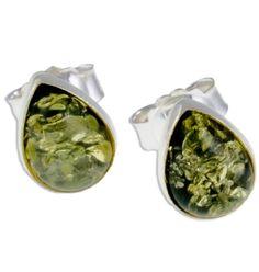 Green Drops Amber Stud Earrings