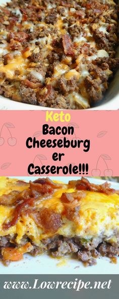 Tiffany Johnson saved to Keto recipesPin3kKeto Bacon Cheeseburger Casserole!!! - Low Recipe 25 Mouth Watering Keto Friendly Meal Recipes #keto_recipes #Keto_Diet_Ideas #low_carb_meals