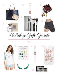 My holiday gift guide for her includes twelve gift ideas for any woman in  your life. From accessories to tech to perfume, there is something for anyone on your list. I personally want that iPhone case (need an iPhone 6 first!) and those chic glittens.