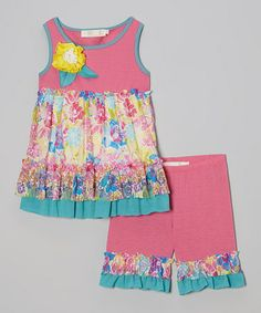 Love this Pink & Teal Ruffle Babydoll Tunic & Shorts - Toddler & Girls on #zulily! #zulilyfinds