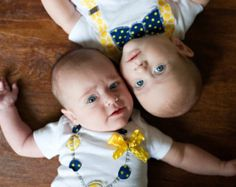 "Baby Items for Twin Girls | Swanky Baby Twin Girl/Boy Set of tw o matching onesies ""The Wolverine ..."