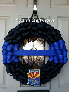 Thin Blue Line Memorial Wreath Police Wreath by BozuesCraftCloset