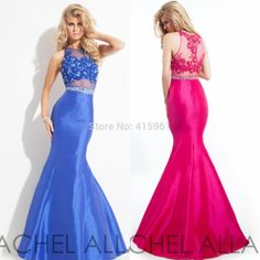 Vestidos de Festa Hot Pink Royal Blue 2 Piece Prom Dresses Mermaid Evening Dress Lace Crystal Fast Shipping L001