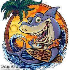Surfing Shark T-Shirt Illustration - Flyland Designs, Freelance Illustration and Graphic Design by Brian Allen - Deco Surf, Shark Art, Tiki Art, Freelance Illustrator, Beach Art, Urban Art, Surfboard, Vector Art, Illustration Art