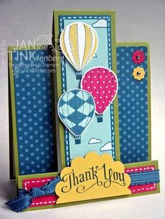 Greeting Card - Thank You with Hot Air Balloons Fancy Fold Handmade in Blue Green Pink Yellow Fun Fold Cards, Pop Up Cards, Folded Cards, Cute Cards, Your Cards, Center Step Cards, Kids Cards, Creative Cards, Greeting Cards Handmade