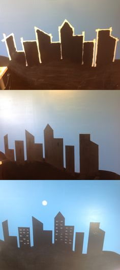 My son wanted skyscrapers on his wall, so I made it  with blackboard paint.