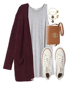 """""""shopping day"""" by typical-lizzie ❤ liked on Polyvore featuring H&M, Monki, Converse, Tory Burch and Alex and Ani"""
