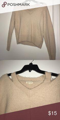 Fashion Nova Sweater Never worn cream-colored Fashion Nova sweater with cut out neck detail Fashion Nova Sweaters