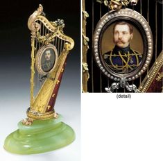 A UNIQUE JEWELLED, FOUR-COLOR GOLD AND GUILLOCHÉ ENAMEL MINIATURE HARP MARKED FABERGÉ AND WITH THE WORKMASTER'S MARK OF MICHAEL PERCHIN, ST. PETERSBURG, CIRCA 1896 Price realised USD 317,500.    19/04/02.   Christies