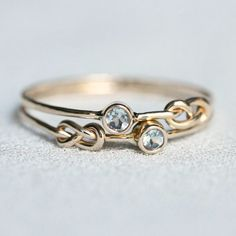 Choose Two Stones - SOLID 14k White or Yellow Gold - Tiny Birthstone Stacking Rings - Infinity Knots and Stones of Your Choice - Delicate