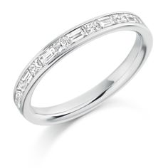 Channel Set 0.60ct Princess & Baguette Cut Diamond Half Eternity Ring | Reppin & Jones Jewellers