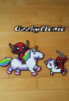 Chibi DeadPool made with Perler Beads... The Marvels anti-hero character! Size Big: 14 wide x 12 tall (36 cm x 32 cm) Small: 8 wide x 8 tall (20 cm x 20 cm) Special price for both! Free shipping in Canada with a order of 25$ or more Free international shipping with a order of 60$ or