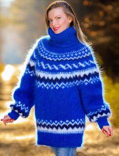 Green white purple mohair sweater Icelandic hand knitted Nordic fuzzy jumper #SuperTanya #TurtleneckMock