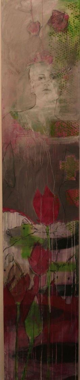 Zeichnung überarbeitet mit Pigmenten  200 x 50 cm