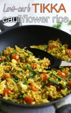 Low-carb tikka cauliflower rice - only 200 calories for a generous portion! Serve it as a side dish alongside your favourite curry, or throw in some protein to make it a full meal. Vegetarian, vegan and gluten-free!