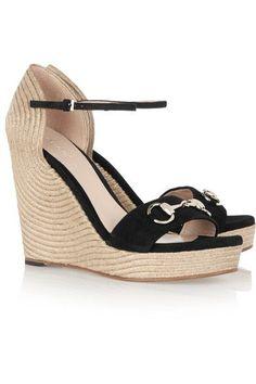 Gucci - Horsebit-detailed Suede Espadrille Wedge Sandals - Black - IT41.5