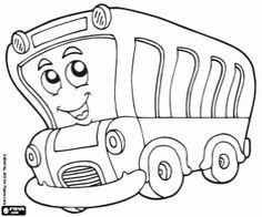 Omalovánka Školní autobus na silnici