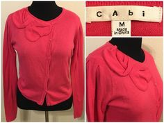 Cabi Pink Cardigan Sweater Cashmere Blend Size Medium Asymmetrical Button Up 492 #CAbi #Cardigan