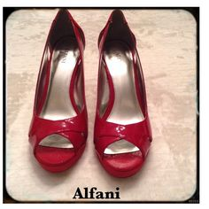 Alfani Fairfax Cherry Red Peeptoe Pump 7.5 M Gorgeous cherry red patent leather 7.5 M peep toe pumps to make any occasion special. Alfani's Fairfax low platform pumps feature crisscrossing straps at the toe and sexy cut-outs on the side. Imported. Man-made upper. Round peep-toe pumps. These Alfani Fairfax shoes have been worn once, show very little signs of wear at all.  There is one small scuff on the inside toe portion of the right shoe that is barely noticeable. Alfani Shoes Platforms