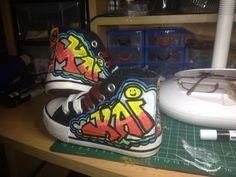 Painted graffiti boots