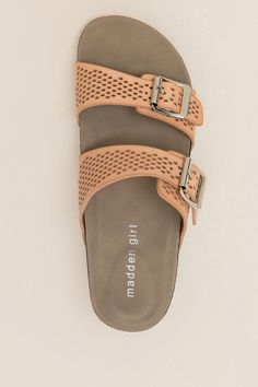 1946073b50a79c Madden Girl Brando Perforated Footbed Sandal- Nude top Nude Tops