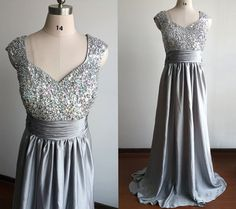Grey/Silver Satin Empire Prom Dress Long /Cap Sleeve Dress/Mother Of the Bride Dress Grey/Bridesmaid Dress/Party Dress Prom Gown Plus Size