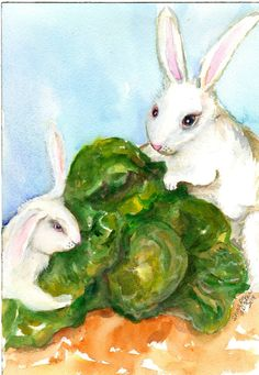 Bunny Rabbits  in the Cabbage Patch Painting  by SharonFosterArt, $18.00