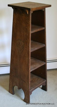 ARTS & CRAFTS OAK CARVED MAGAZINE STAND