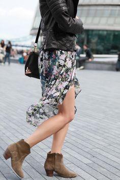 Leather biker jacket, floral skirt & Isabel Marant Dicker boots